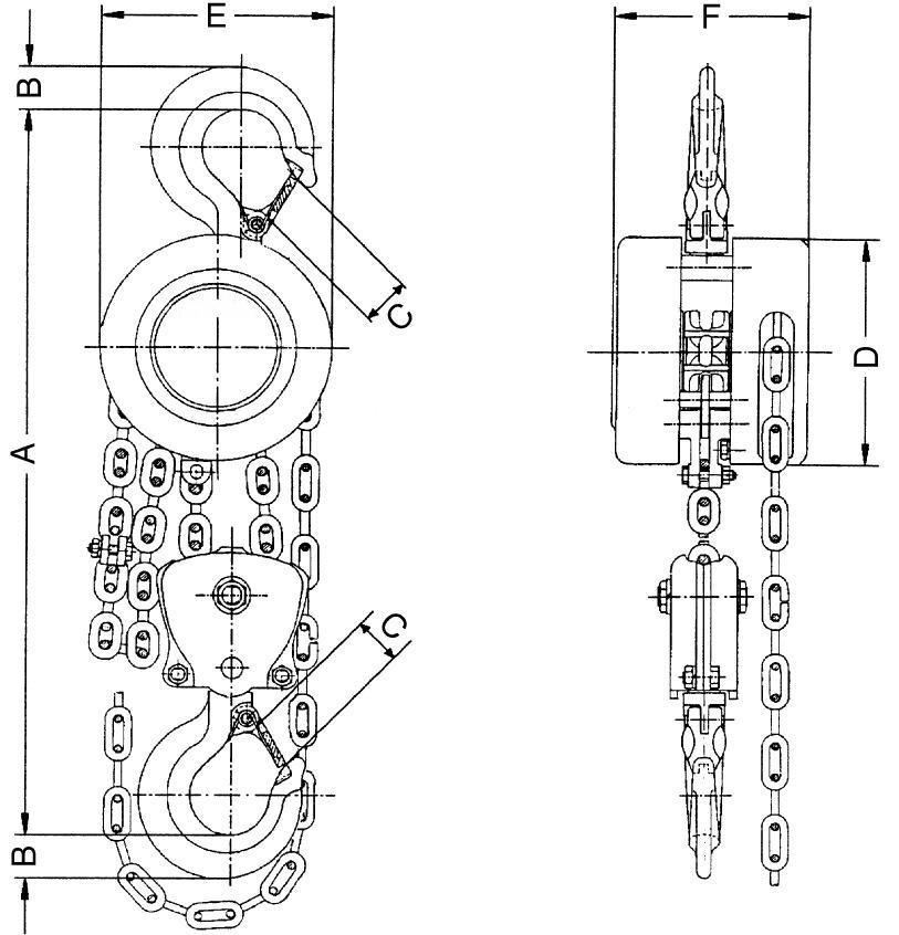 Ручные тали шестеренные ТРШСК: размеры