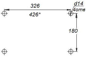 Лебедка ручная барабанная ДИНА-2 - схема присоединительных размеров