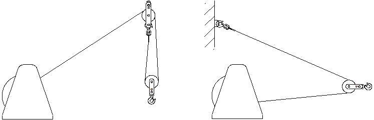 Лебедки ручные канатные Дина - использование с блоком