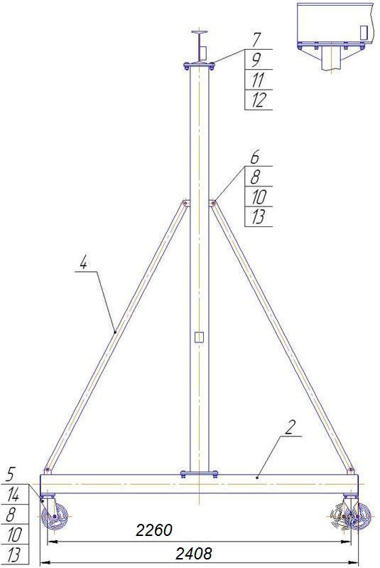 Устройство перегрузочное мобильное грузоподъемностью 2т - передвижной кран, кран козловой