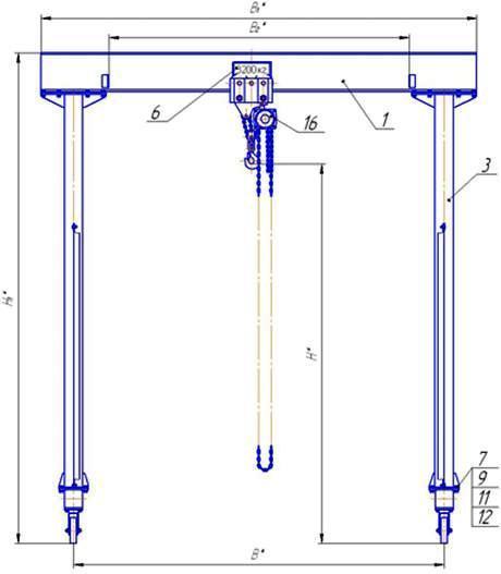 Устройство перегрузочное мобильное грузоподъемностью 3т - передвижной кран, кран козловой