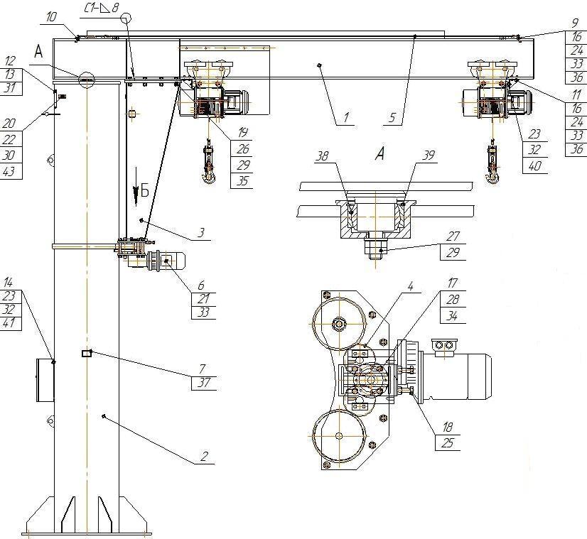 Схема крана консольного
