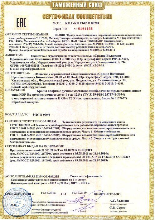 сертификат краны опорные ВБИ до 12,5т